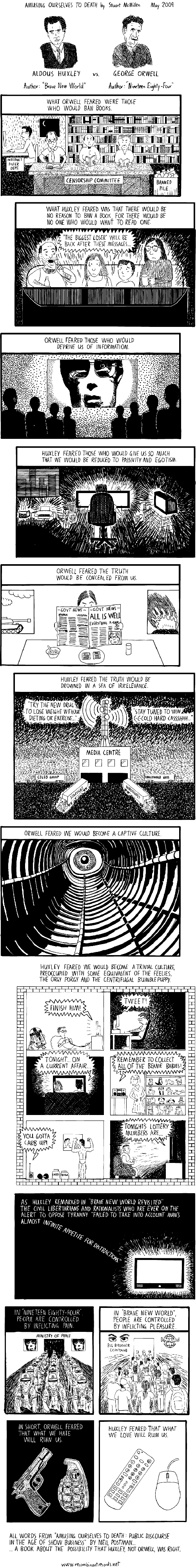 Orwell versus Huxley cartoon